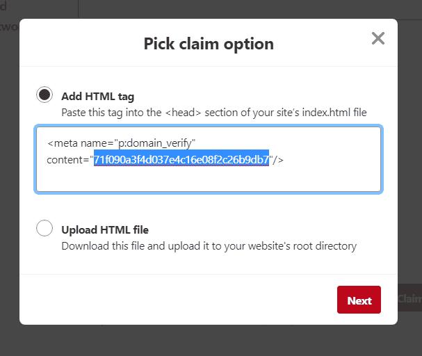 Pinterest Pick claim option window