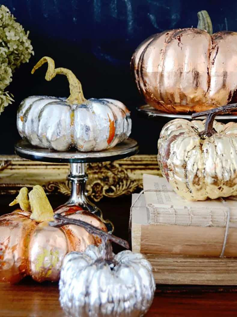 Metallic pumpkins via HGTV.com