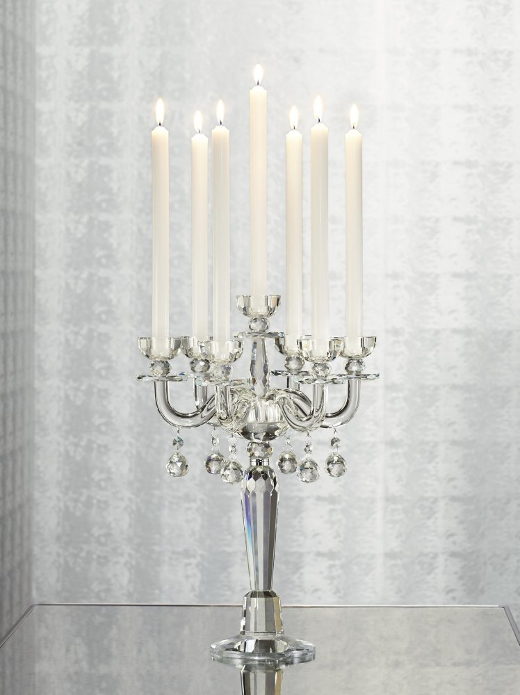Crystal candelabra with white candles