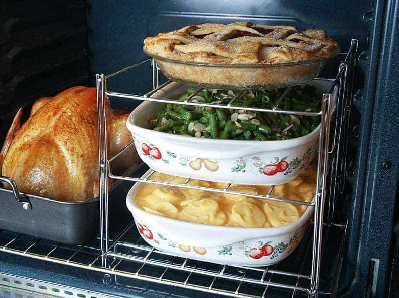 Plan your oven space for your holiday dinner party meal...a tiered oven rack can help