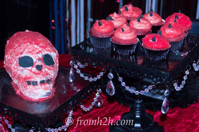 Devil skull cake and cupcakes - Fallen Angels and Devils Party | www.fromhousetohome.com/entertainingdiva