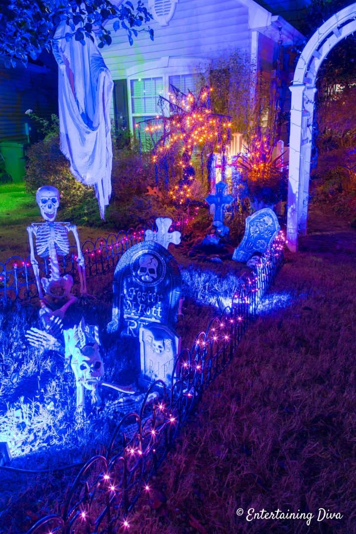 Halloween graveyard fence with lights