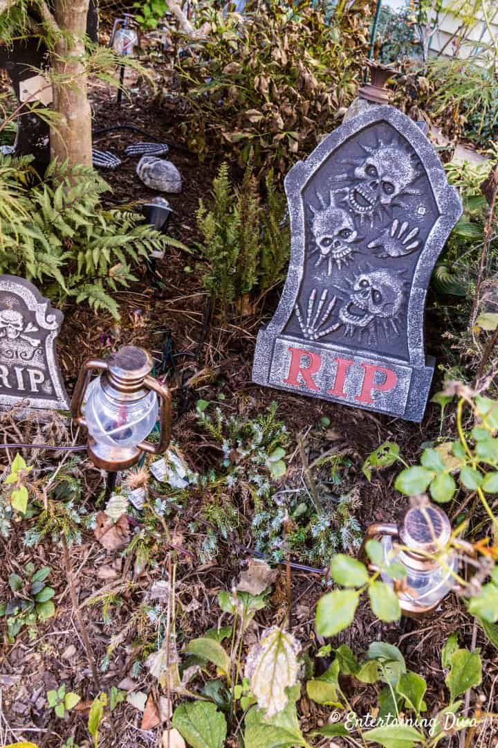 Halloween graveyard with gravestones