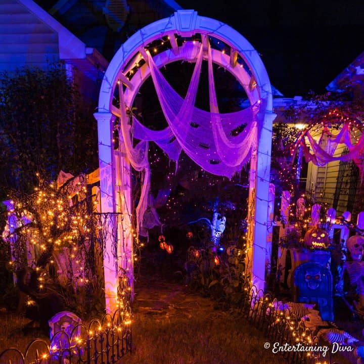 Lighted Halloween archway entrance