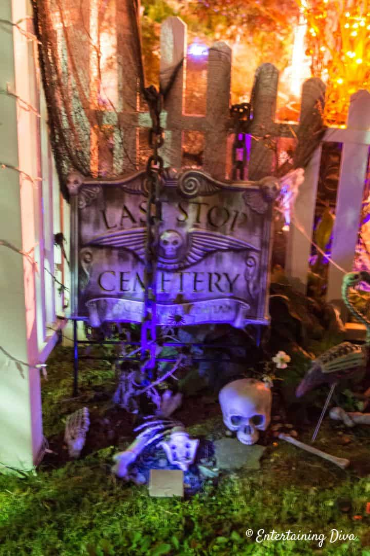 Halloween graveyard with chains and bones