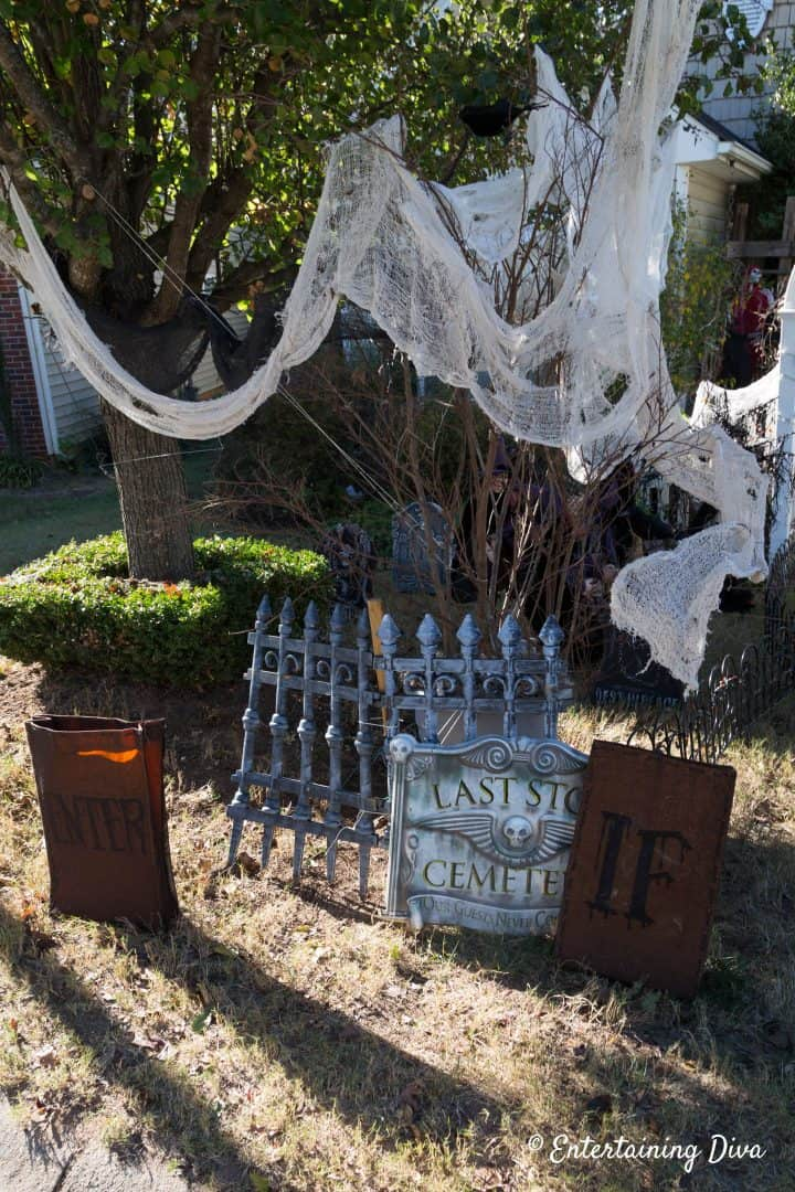 Halloween graveyard fence during the day