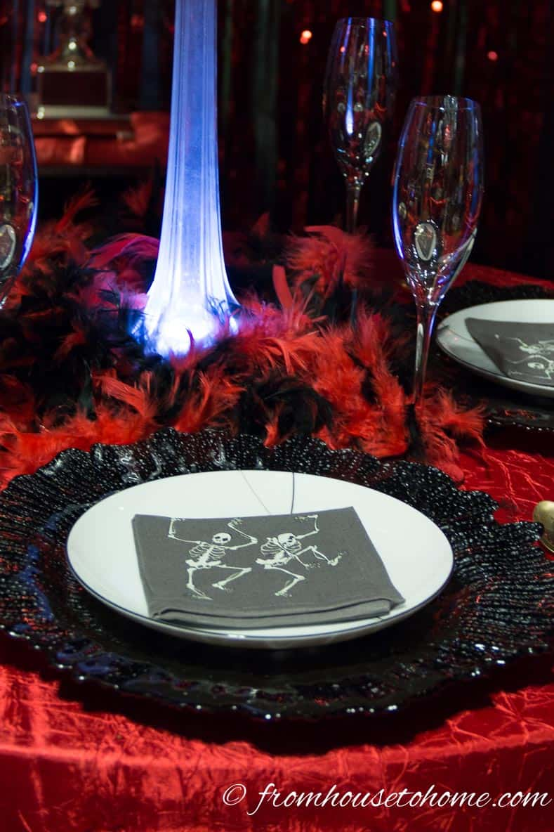 Black Chargers With White Plates Adds Drama - Fallen Angels and Devils Party | www.fromhousetohome.com/entertainingdiva