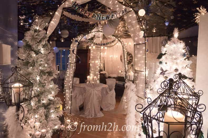 Outdoor elements such as an arbor add to the winter wonderland scene | Winter Wonderland Party Ideas