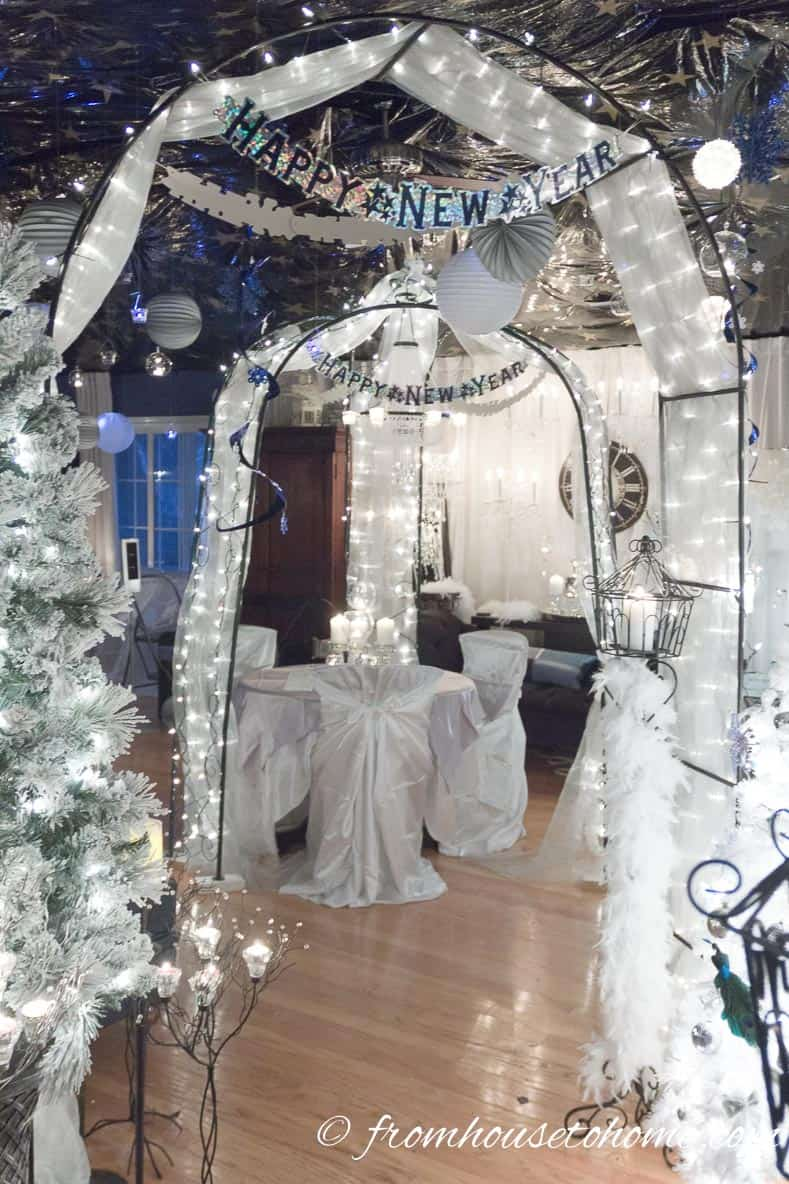 Use lots of white lights | Winter Wonderland Party Ideas