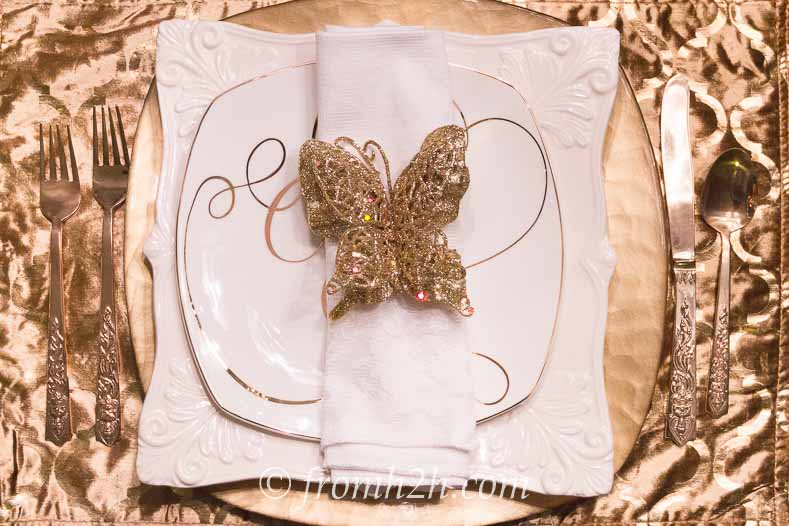 A gold velvet place mat and gold napkin accessory are a good option for a holiday table setting | | 5 No-Fail Ways to Create Beautiful Table Settings