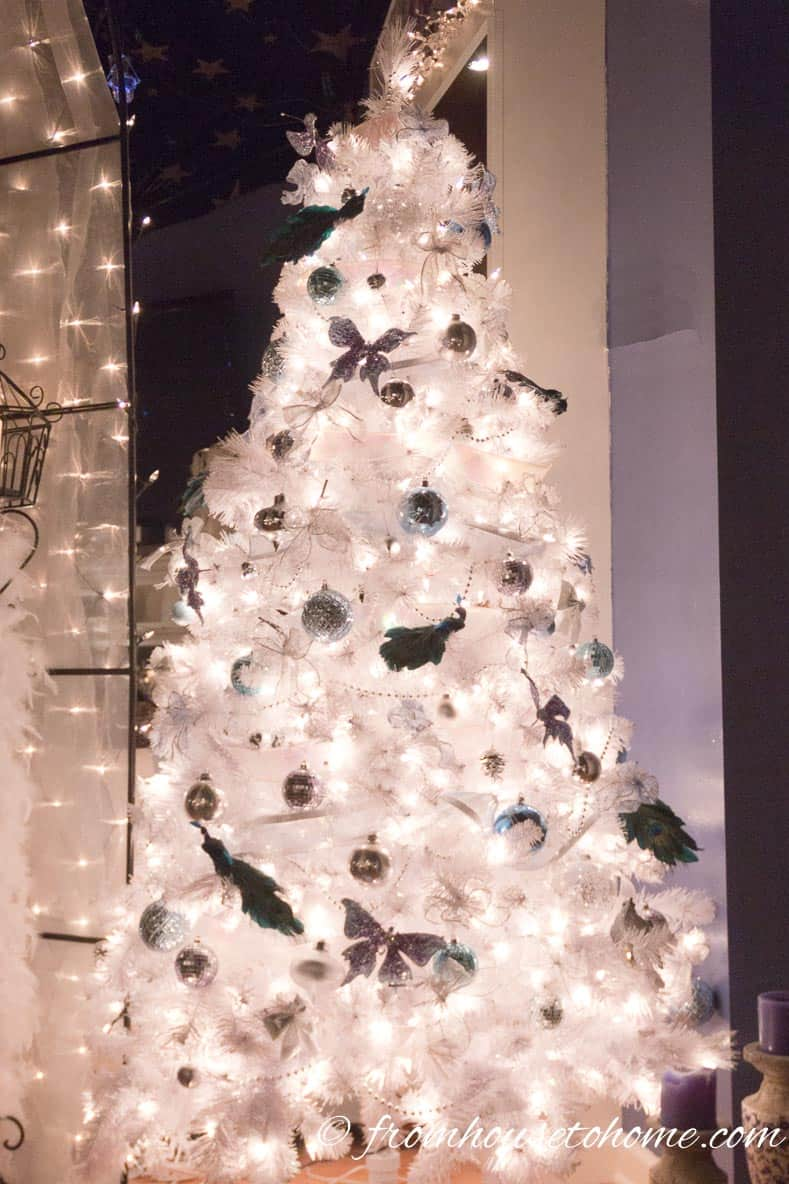 White Christmas trees are great Winter Wonderland Party decor | Winter Wonderland Party Ideas