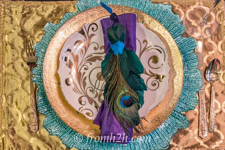 Peacock napkin ring with gold and turquoise