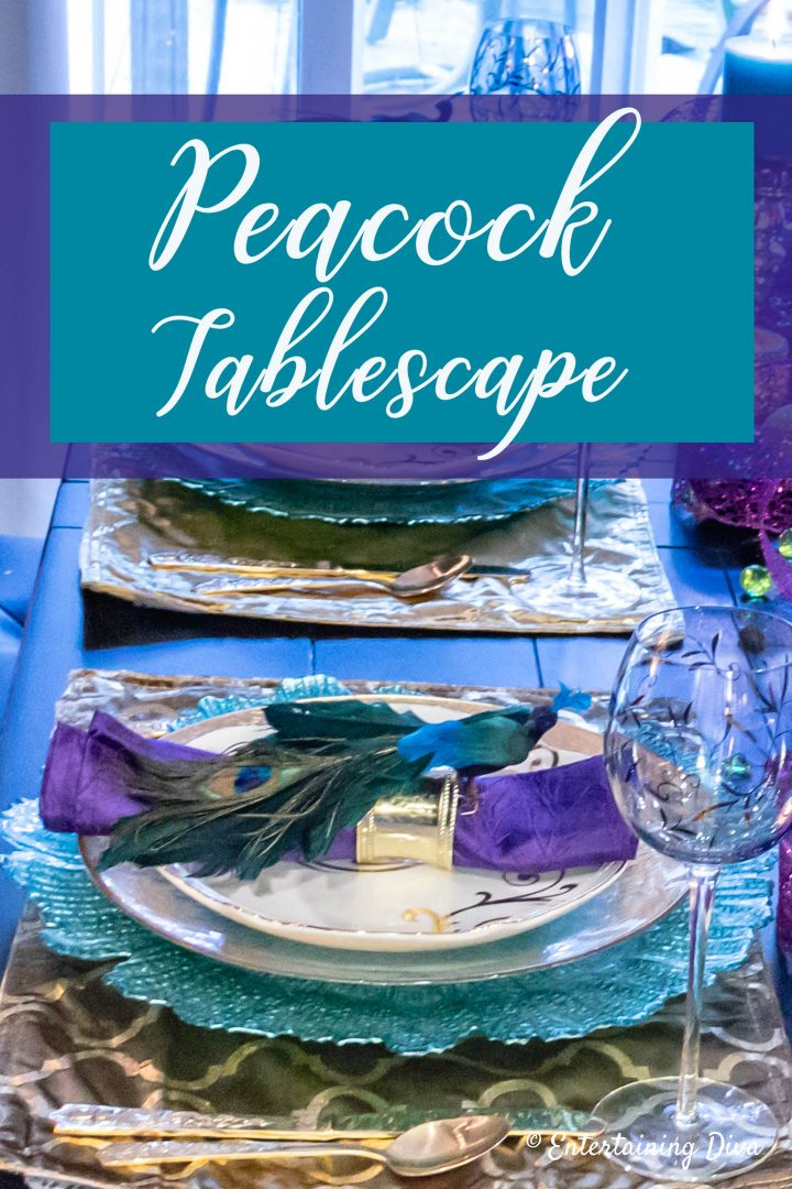 Peacock tablescape: A Mardi Gras Table Setting