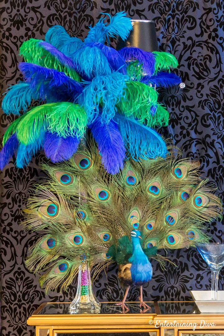 Peacock ostrich feather centerpiece