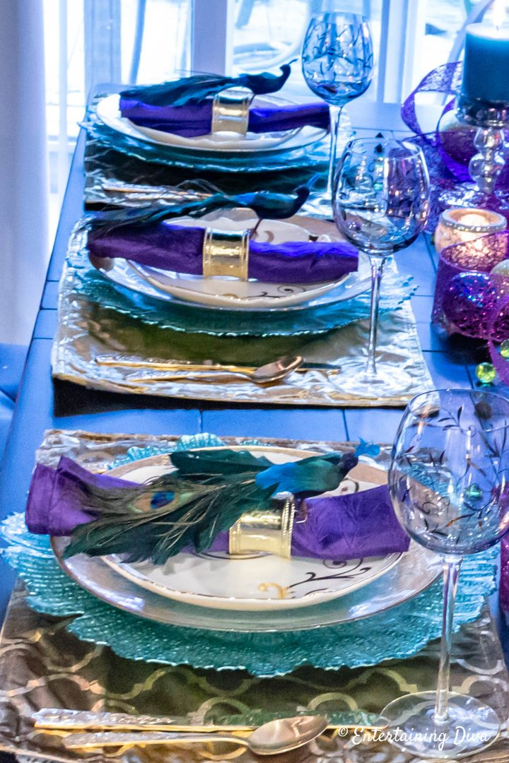 Peacock inspired Mardi gras tablescape