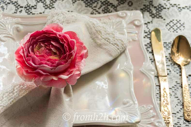 Pink, ivory and gold is a classic color scheme that is perfect for a vintage tablescape