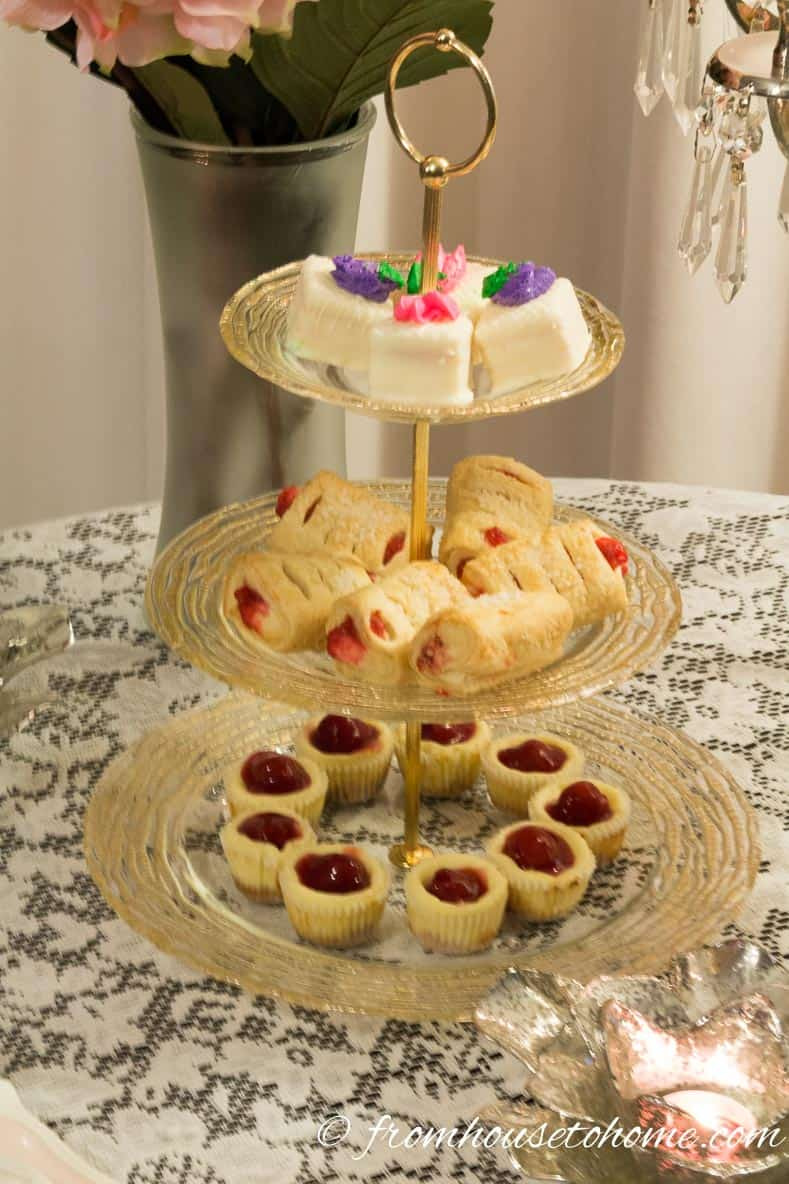 Cherry cheesecakes, strawberry turnovers and petit fours also match the decor