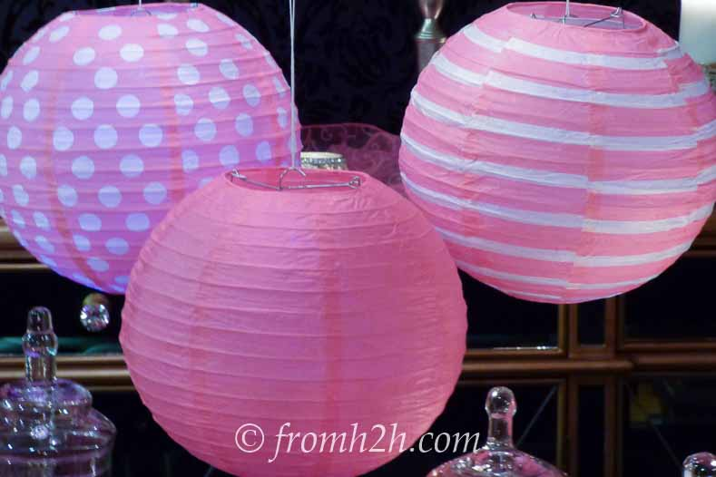 Pink and white paper lanterns