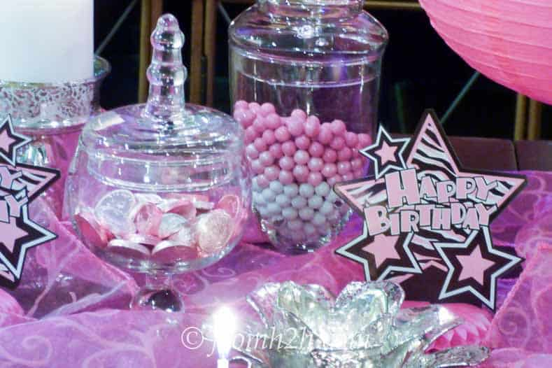 Pink and white candy buffet