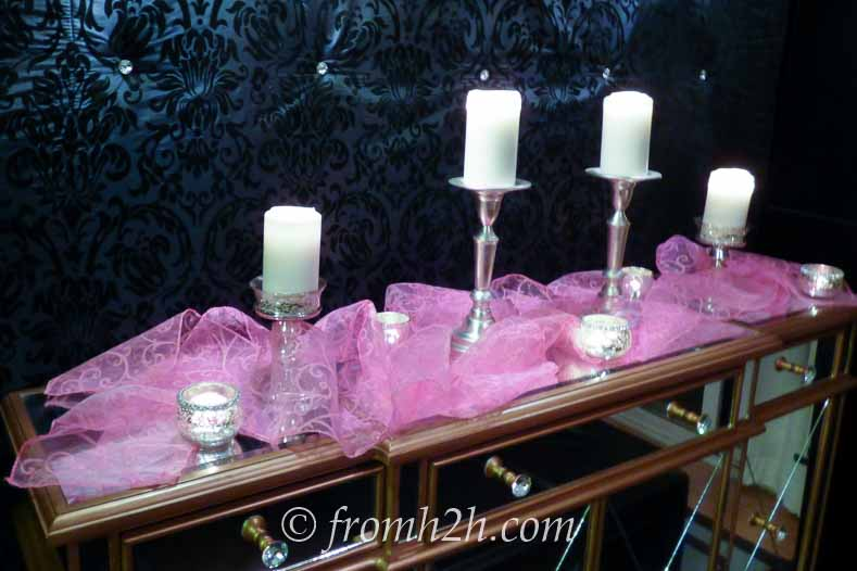 Pink chiffon ribbon with white candles