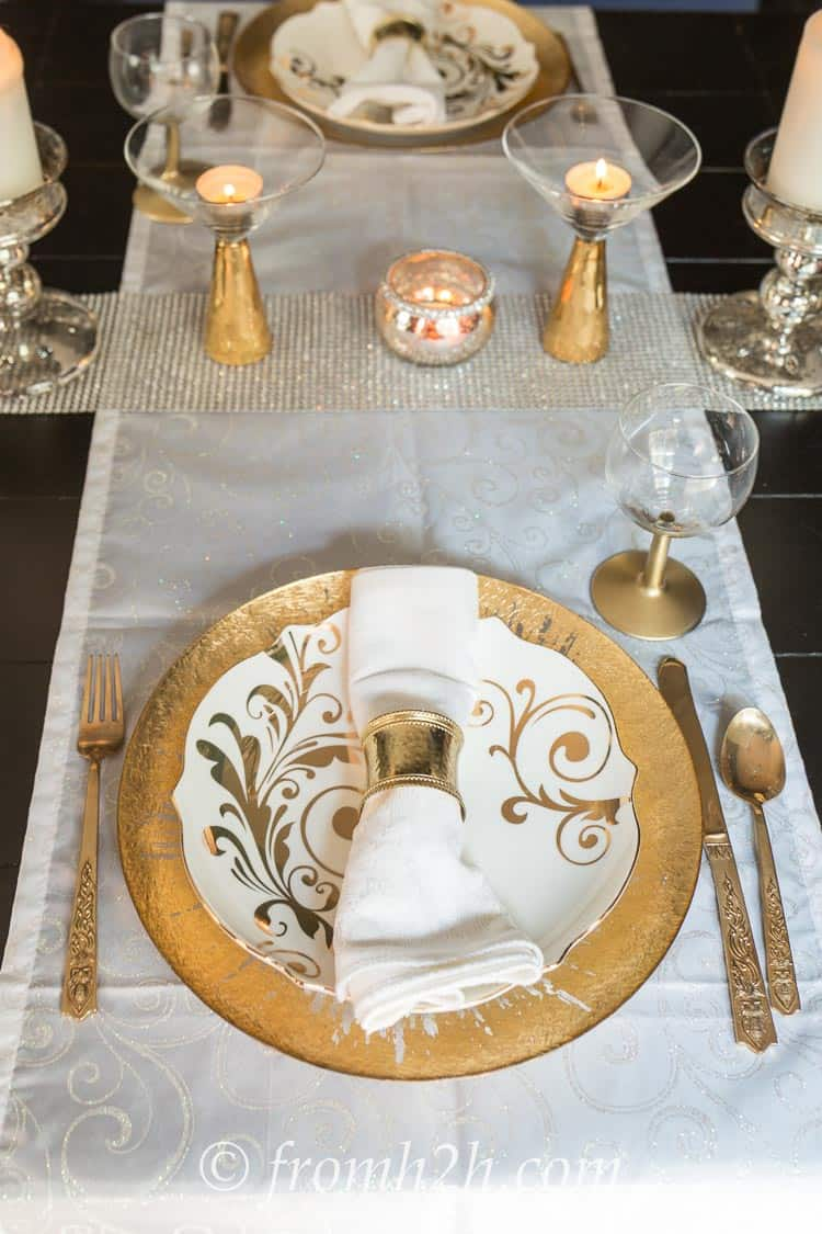 Place setting with the IKEA Wine Glass Hack