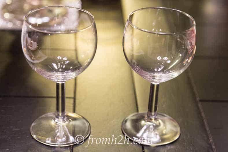 IKEA wine glasses that have the stems spray-painted gold