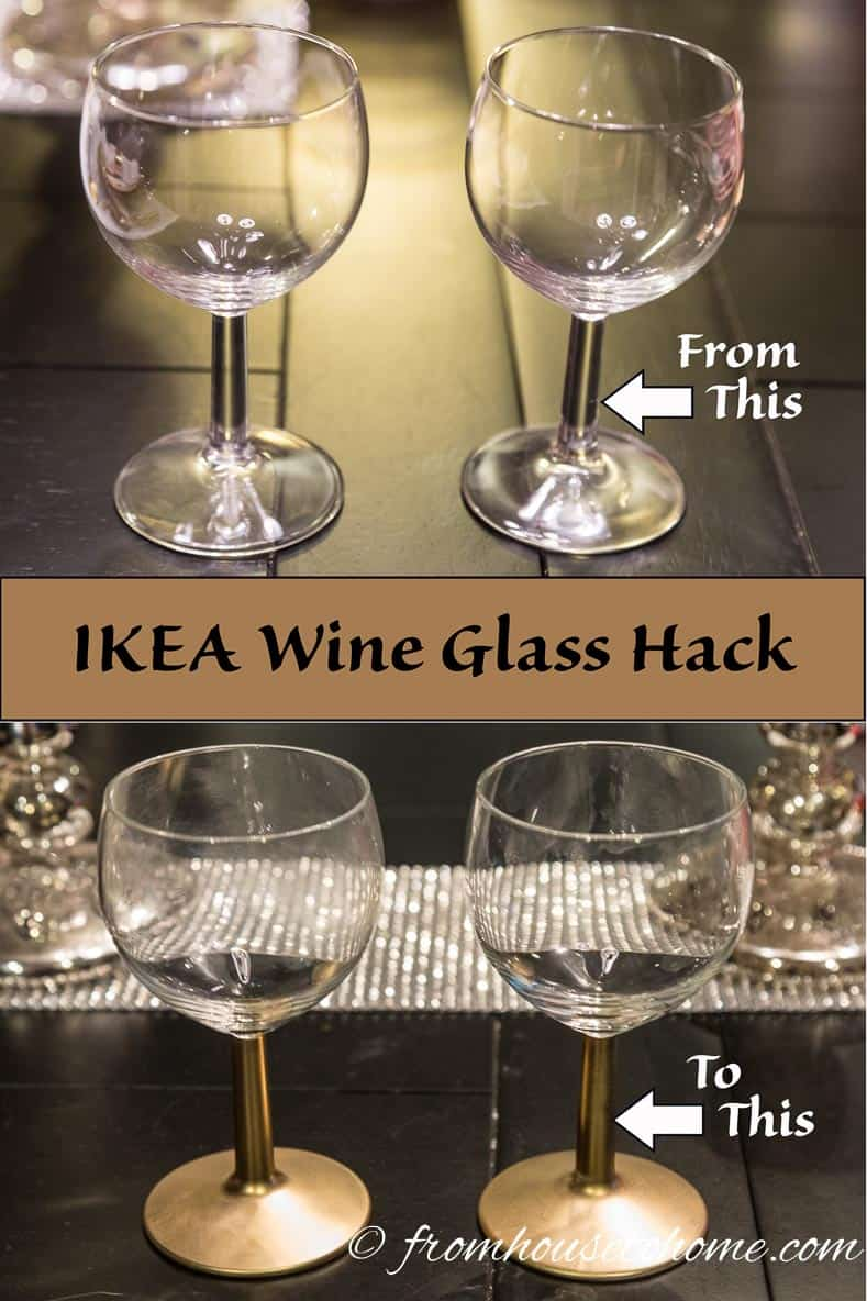 The gold-stemmed IKEA wine glass with a gold and white place setting