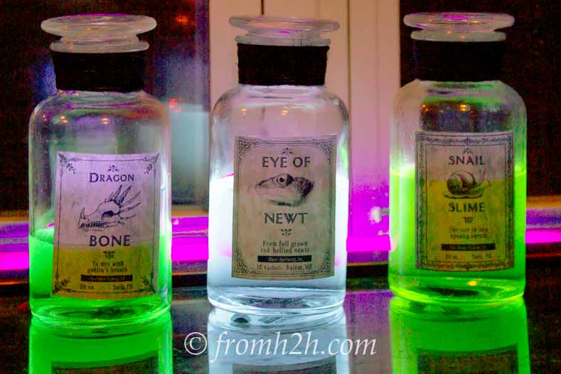 Witches potions made with tonic water and food color glow in the dark