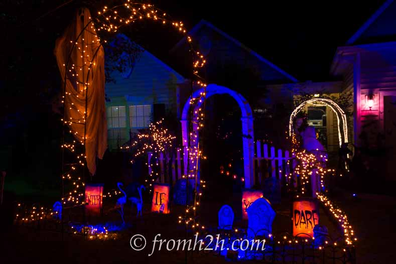Orange and blue Halloween outdoor lighting