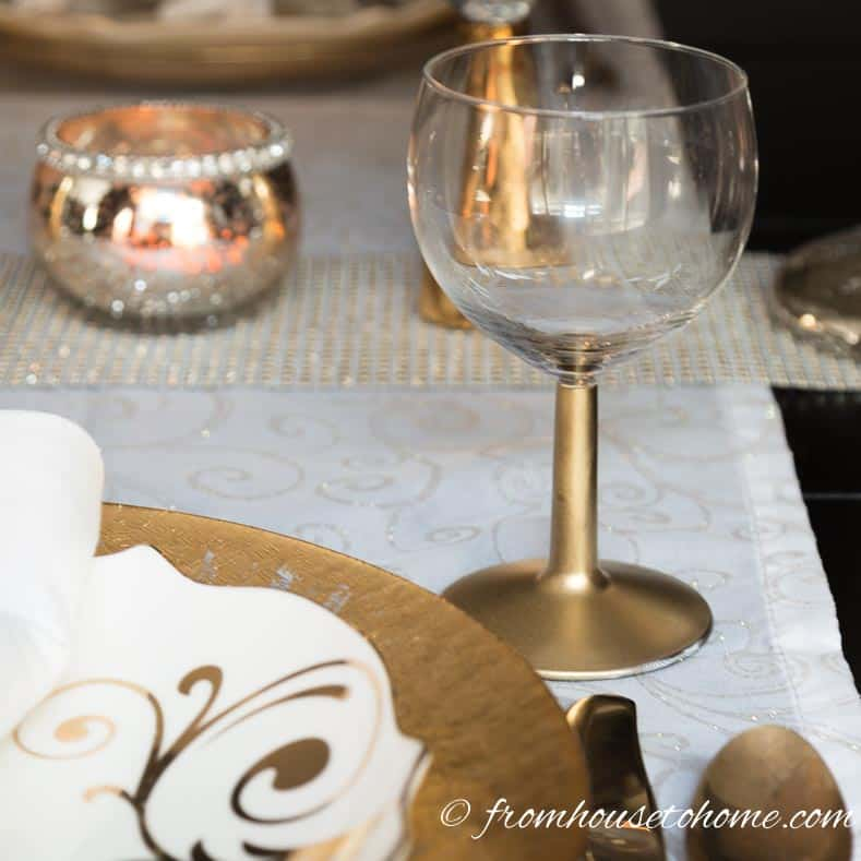 DIY gold stemmed wine glasses are a great last minute New Year's Eve party decoration idea