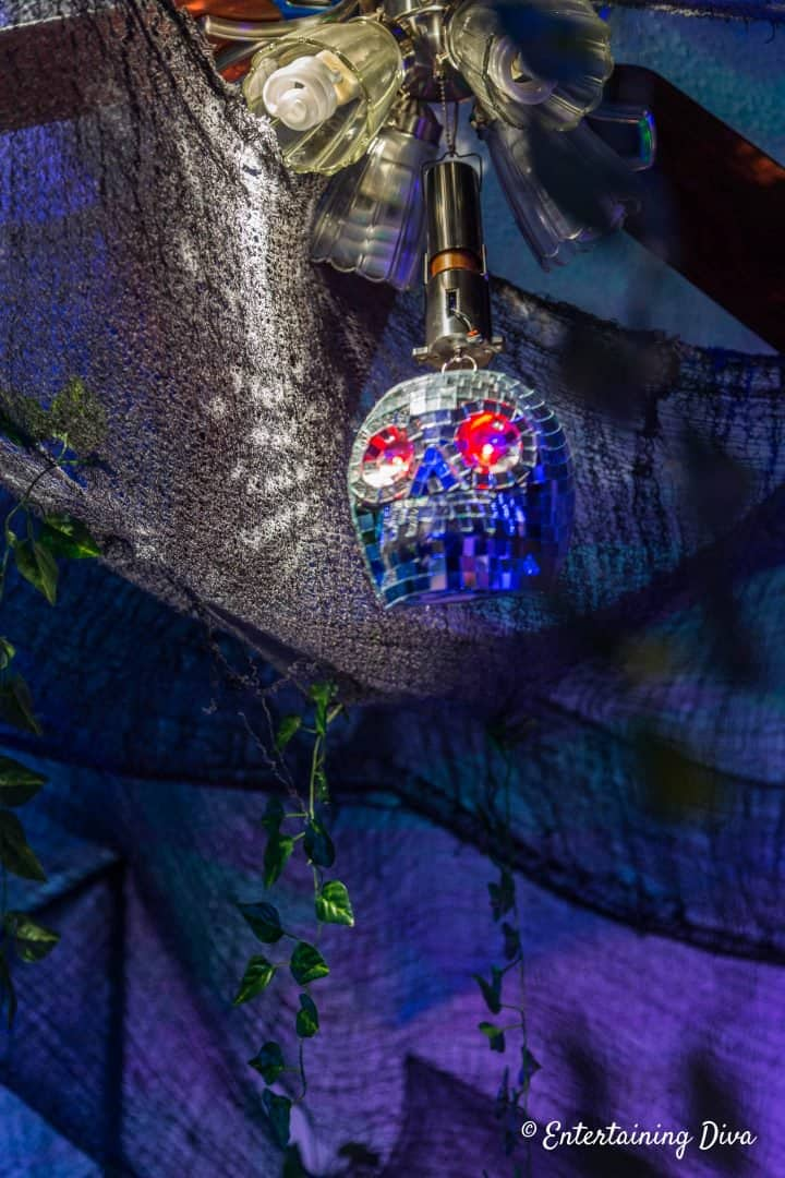 Skull disco ball is fun indoor Halloween lighting
