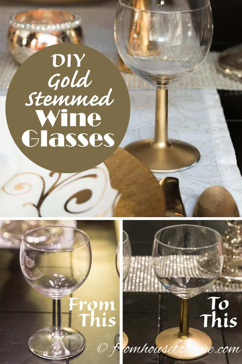 DIY Gold Stemmed Wine Glasses | Want the look of expensive wine glasses but don't want to spend that much money? These easy-to-make DIY gold stemmed wine glasses are perfect!