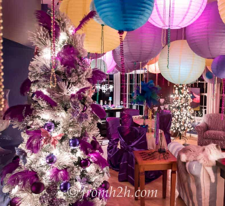Purple feathers in the tree are a little over the top...just like Mardi Gras