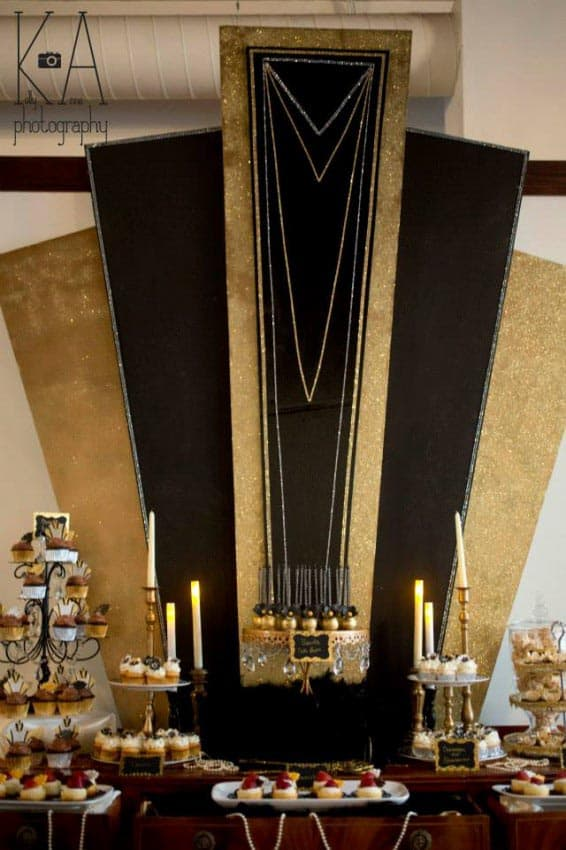 Gold and black Gatsby party backdrop from thepartyteacher.com