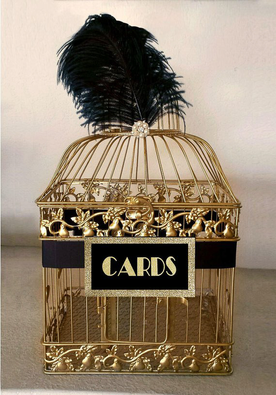 Gold and black Gatsby-inspired bird cage card holder