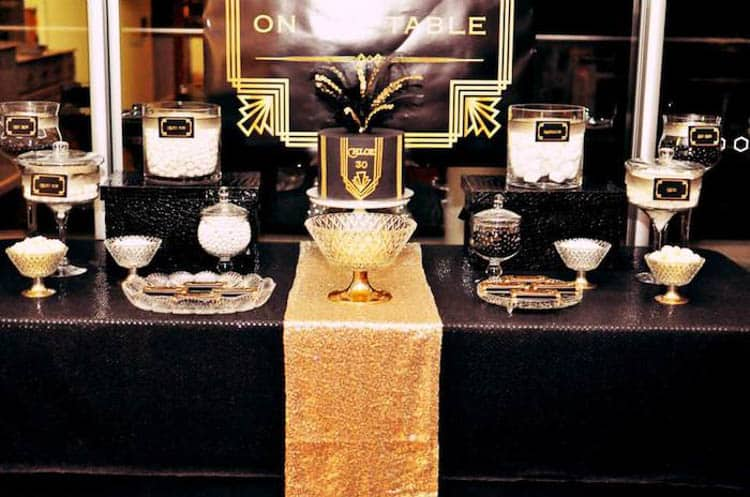 Black and gold candy buffet from karaspartyideas.com