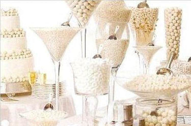 White candy buffet from newenglandfineliving.com | Winter Wonderland Party Ideas