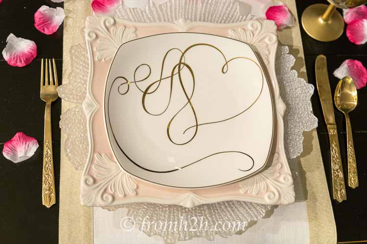 Pink and white place setting | How to create a romantic Valentine's Day table setting