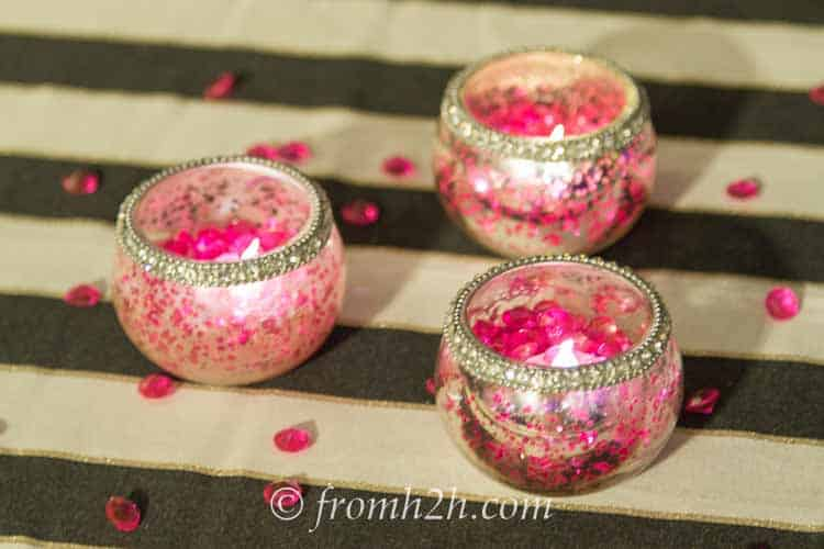 Pink acrylic crystals and candles | How to create a romantic Valentine's Day table setting