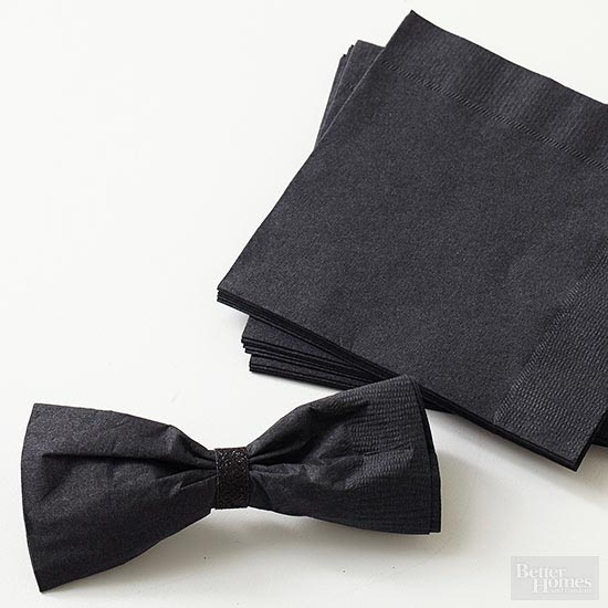 Paper napkin bow ties (from bhg.com) | 15 Fabulous Oscar Party Ideas