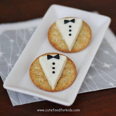 Cheese Wedge Tuxedos (from cutefoodforkids.com) | 15 Fabulous Oscar Party Ideas