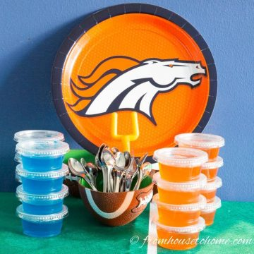 Orange and blue jello shots