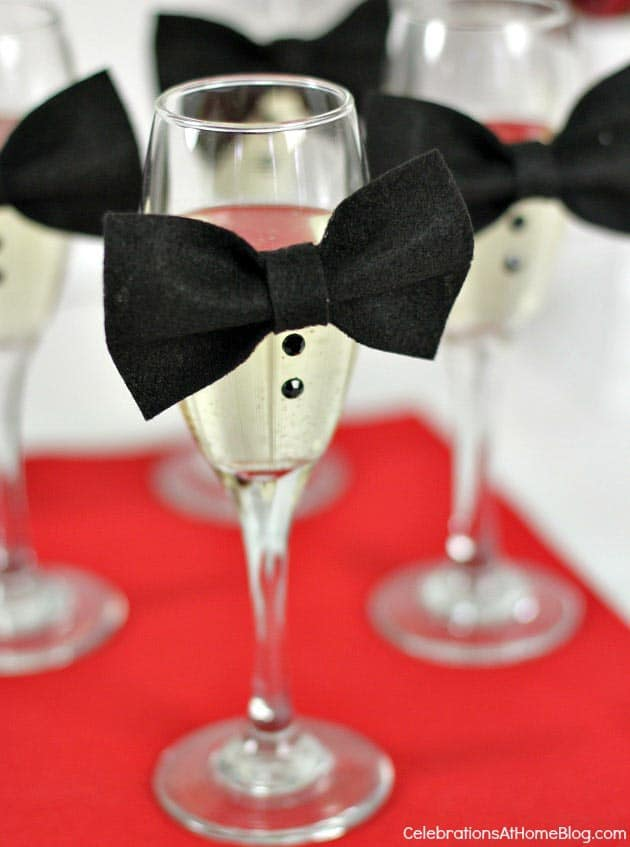 DIY Bow Tie Champagne Glasses (from celebrationsathomeblog.com) | 15 Fabulous Oscar Party Ideas