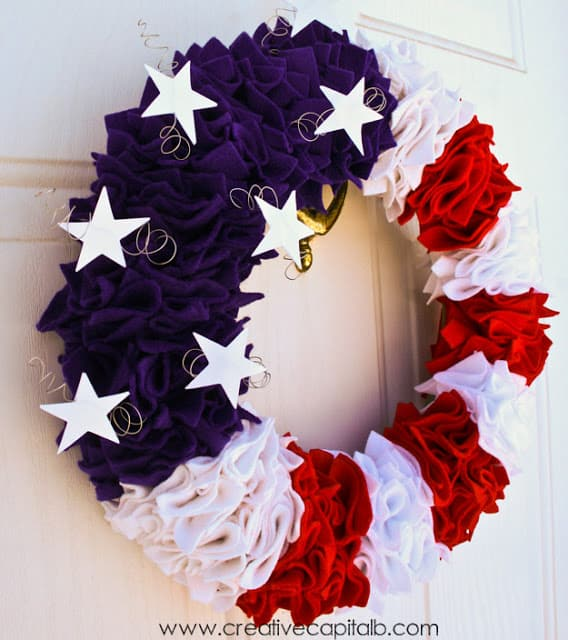 DIY Patriotic Wreath is another one of the Easy Fourth Of July Outdoor Decor Ideas