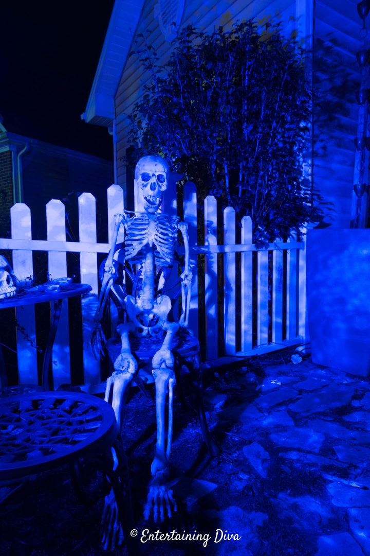 Halloween skeleton highlighted with a blue flood light