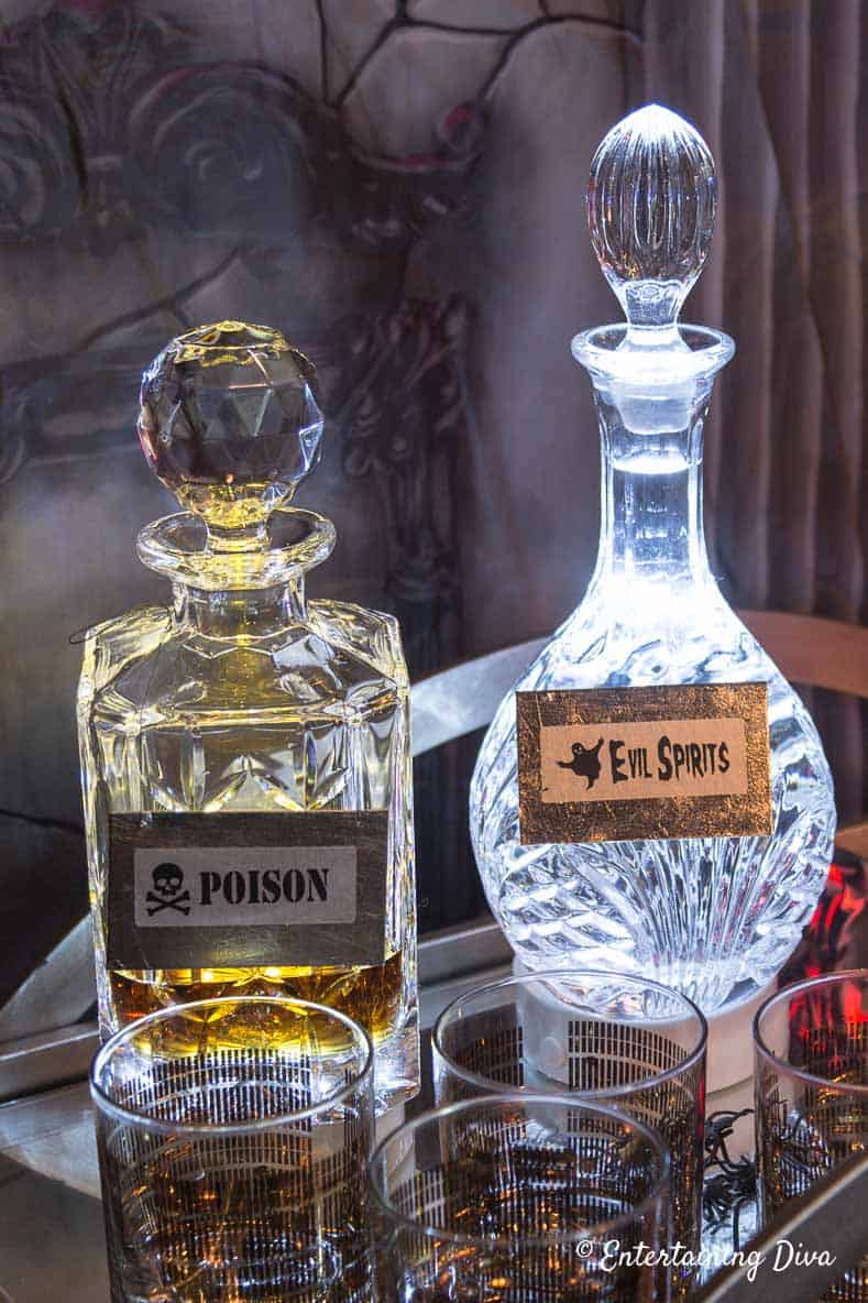 Lighted Halloween Decanters with bottle labels