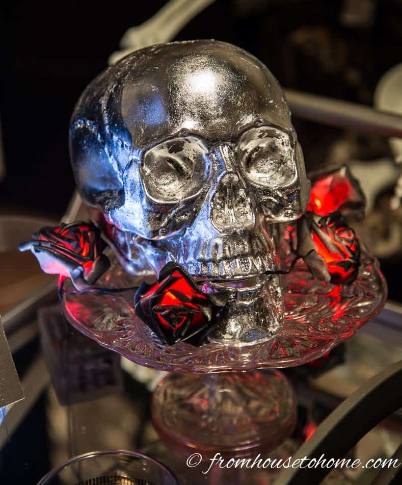 The finished skull shines in the light