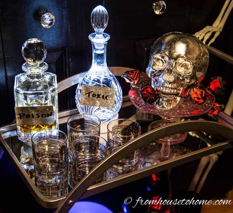 The DIY silver skull fits right in on the bar cart