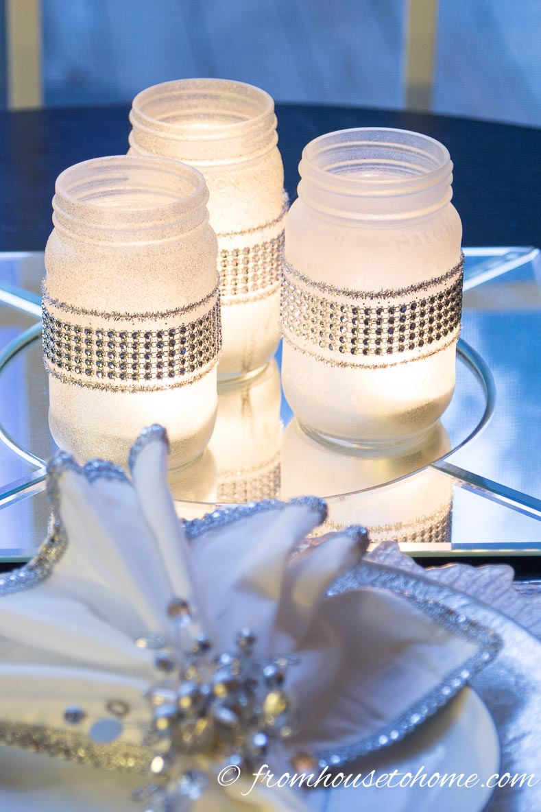 Easy DIY frosted glass candle holder