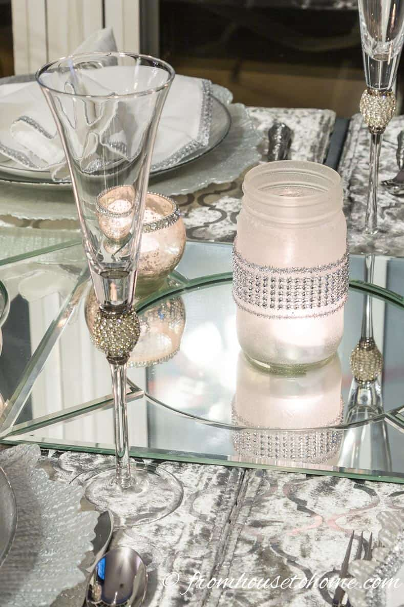 DIY candle holder to go with the champagne flutes | Silver and White Winter Table Setting